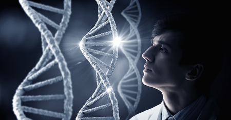 nucleotides: Man scientist and 3D rendering DNA molecule image at media screen Stock Photo