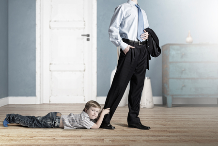 letting: Little boy not letting his father to go away. Mixed media