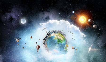 우주의 개념을 제시하는 판타지 공간 배경입니다. 이 이미지의 요소는 NASA에서 제공합니다. 혼합 매체