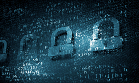 network concept: Binary code background presenting internet security concept