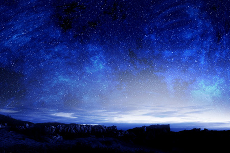 Nightly background sky with moon and stars Stock Photo