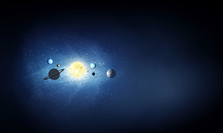 astral: Cosmos background image with planets of sun system Stock Photo