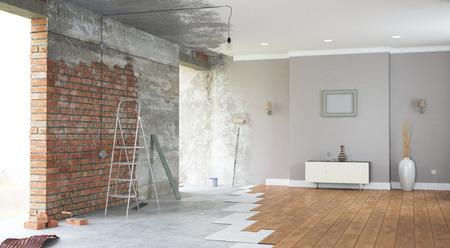 Renovation interior with bright windows. 3D render Stock Photo