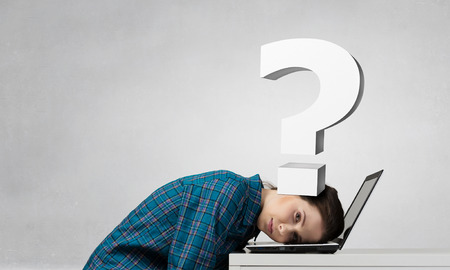 suppressed: Stressed woman with head under pressure of question mark