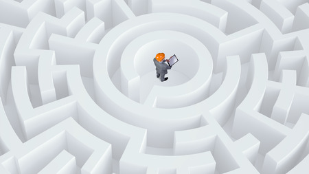 Puzzled young enginner man standing in white labyrinth Stock Photo