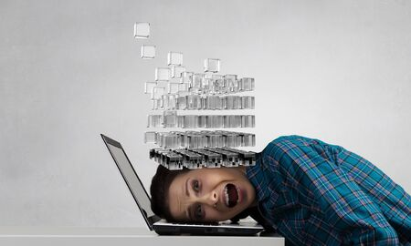 Stressed woman with head under heap of cube figure. 3D rendering