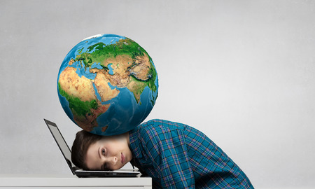 Stressed woman with head under pressure of Earth planet. Elements of this image are furnished by NASA