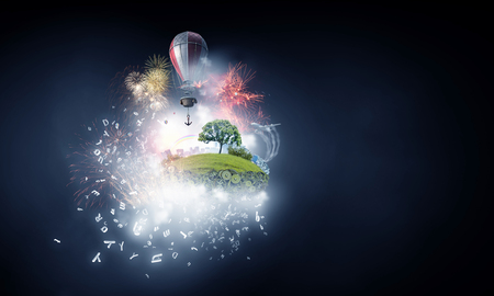 Abstract collage. Floating Island with baloons.3D render Stock Photo