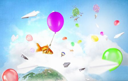 Abstract collage. floating gold fishes under baloons.3D render