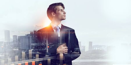 Double exposure image of elegant businessman against modern city background
