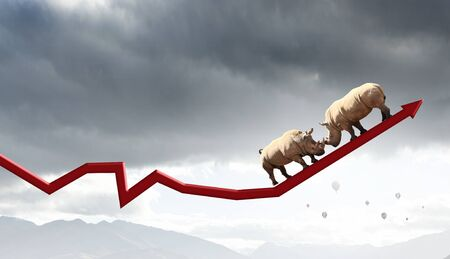 Two rhino animals on growing arrow as symbol of competition Stock Photo