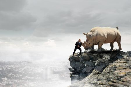 heavy risk: Businessman making effort to move huge rhino