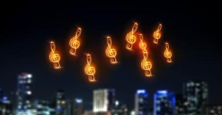 Music clef glowing symbol on dark background Imagens - 67814133