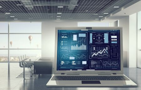 sales report: Average sales report . Mixed media Stock Photo