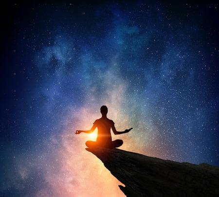 Yoga as physical and spiritual therapy . Mixed media 版權商用圖片