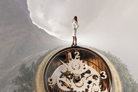 timepiece: When time is passing . Mixed media Stock Photo