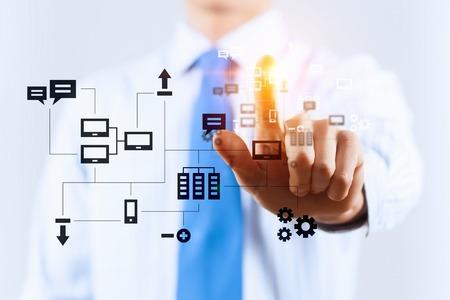 Cloud computing media concept . Mixed media Imagens