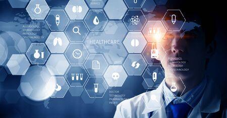 Moderne medizinische Technologien Konzept. Gemischte Medien