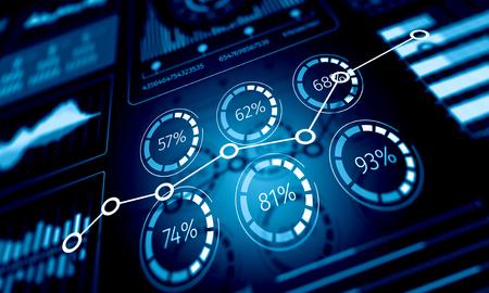Verkoopgegevens en dynamiek. Gemengde media Stockfoto