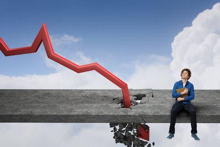 Fall and depreciation . Mixed media Stock Photo