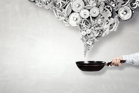 woman handle success: Your success recipe . Mixed media Stock Photo