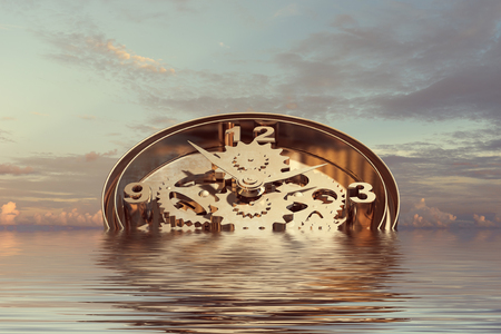 When time is passing . Mixed media Stock Photo
