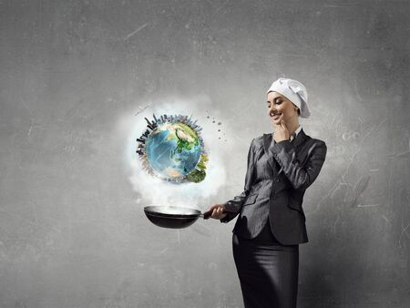 woman handle success: Receipt of success achieving . Mixed media Stock Photo