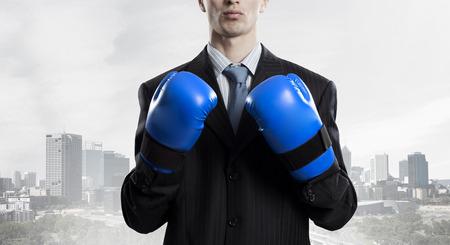 Mister boss ready to fight . Mixed media Stock Photo