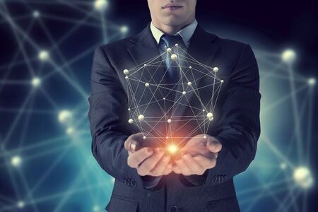 business concepts: Network and future technology . Mixed media Stock Photo