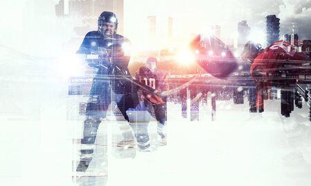 icehockey: Hockey players on ice    . Mixed media