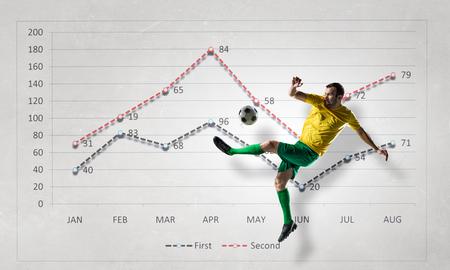 Statistiques de jeu de football. Techniques mixtes Banque d'images - 72639978