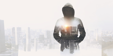 Criminal in the city . Mixed media Stock Photo