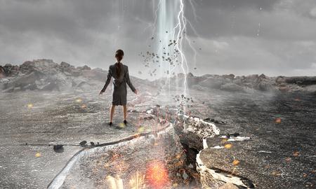 earthquake crack: Overcoming crisis break . Mixed media