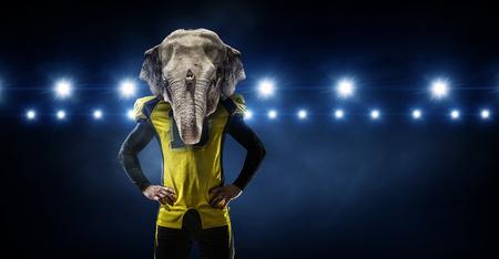 Furious elephants team . Mixed media 版權商用圖片