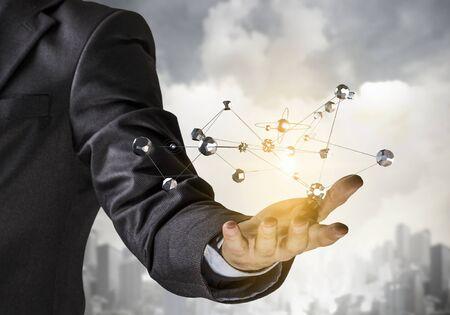 Network and future technology . Mixed media Stock Photo
