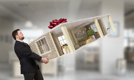 delivery room: Businessman holding in hands room interior design. Mixed media