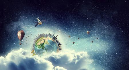 Our Earth planet . Mixed media . Mixed media