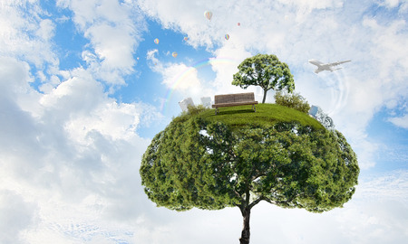 Green tre and cityscape as symbol of forestation question