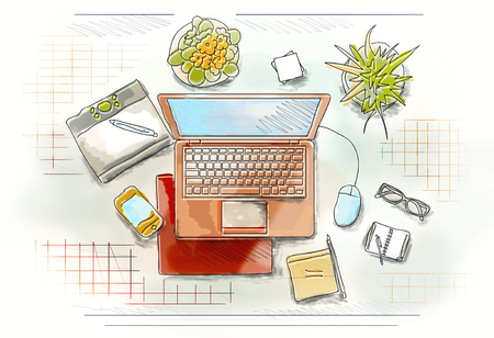 Colored illustration of workplace with different office staff Stock Photo