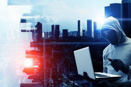 Seguridad de la red y el crimen privacidad. Técnica mixta. Técnica mixta Foto de archivo - 75743184