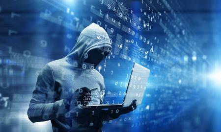 Netwerkbeveiliging en privacycriminaliteit. Gemengde media . Gemengde media Stockfoto
