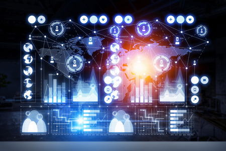 media gadget: Business digital infographs . Mixed media