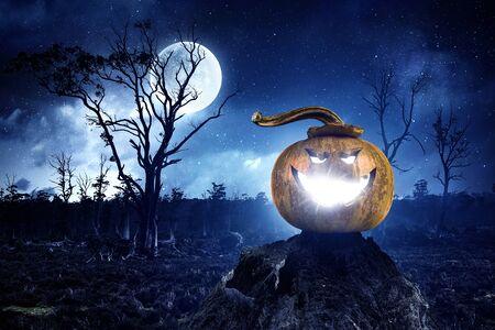 Mystery of Jack pumpkin . Mixed media Stock Photo