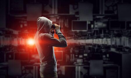 Be aware of hacker attack. Mixed media . Mixed media
