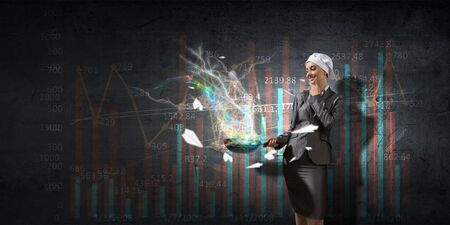 woman handle success: Receipt of success achieving . Mixed media . Mixed media Stock Photo