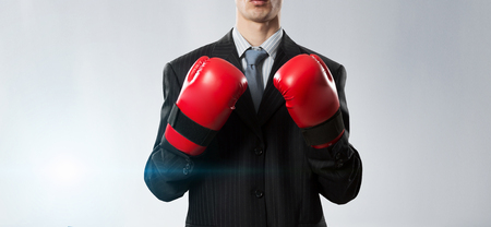 Mister boss ready to fight . Mixed media Stock Photo