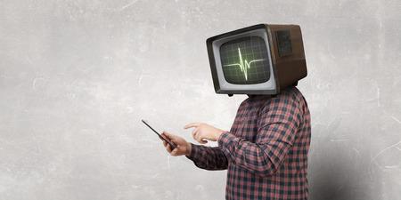 Problem of television addiction . Mixed media . Mixed media