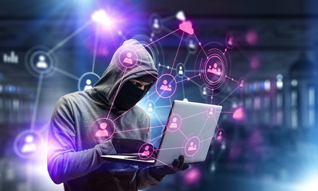 네트워크 보안 및 개인 정보 보호 범죄. 혼합 미디어. 혼합 매체 스톡 콘텐츠