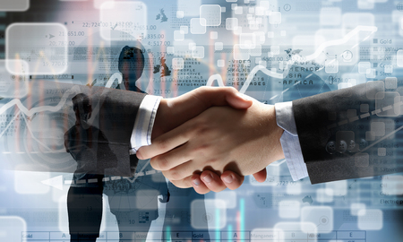 Business partners greeting each other. Mixed media . Mixed media photo