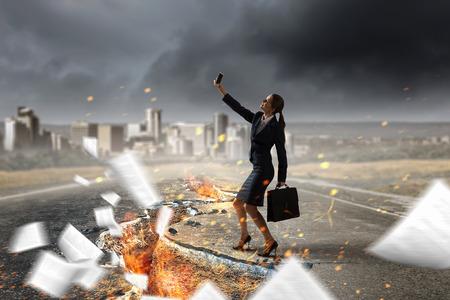 Woman doing selfie . Mixed media Stock Photo
